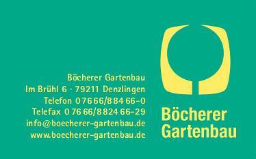 Böcherer Gartenbau, Inhaber Markus Böcherer, Hirtenweg 5, 79312 Emmendingen-Wasser, Tel. 07641/48822, Fax 07641/571571, info@boecherer-gartenbau.de, www.boecherer-gartenbau.de