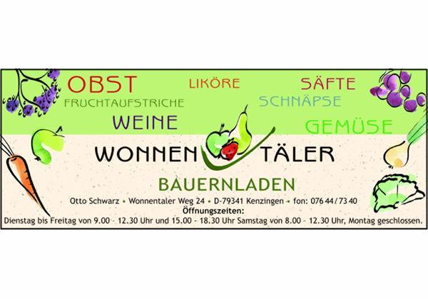 Wonnentäler Bauernladen, Wonnentaler Weg 24, 79341 Kenzingen, Telefon 07644-7340