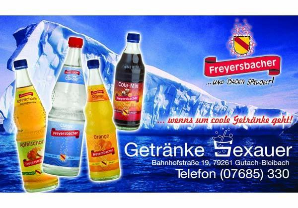 Getränke Sexauer, Bahnhofstraße 19, 79261 Bleibach, Tel. 07685 / 330, Fax 07685 / 491