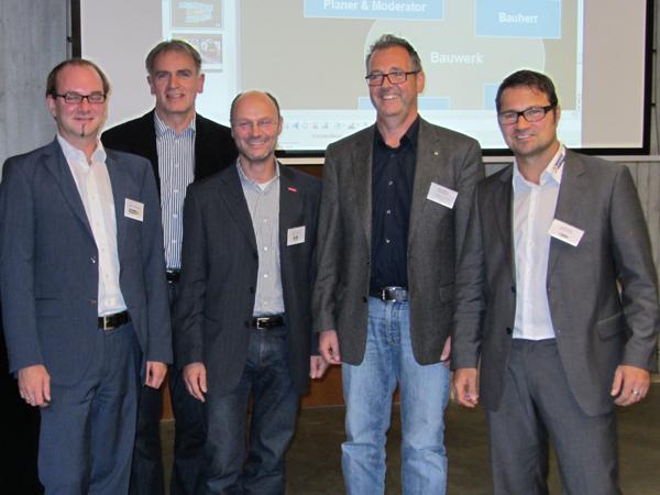 Von links: Markus Hemmerich (Moderator), Rudolf Spitzmüller, Christof Burger, Klaus Wehrle, Gerold Huber.