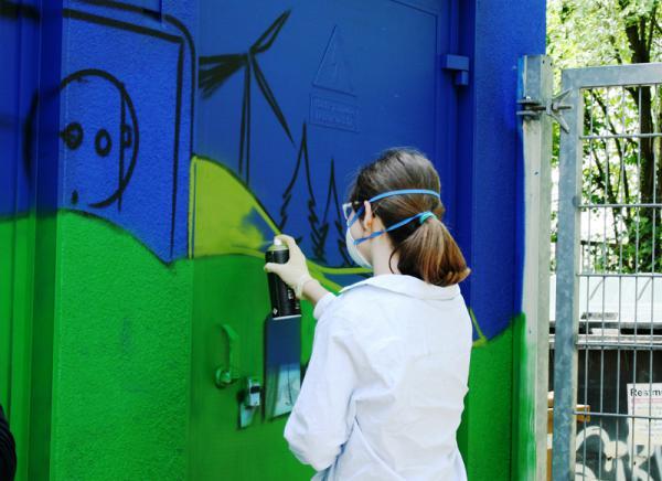 Graffiti-Aktion am Rotteck-Gymnasium Freiburg.