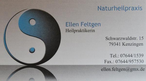 Naturheilpraxis Ellen Feltgen, Heilpraktikerin, Schwarzwaldstr. 15, 79341 Kenzingen, Tel. 07644/1539, Fax 07644/957530