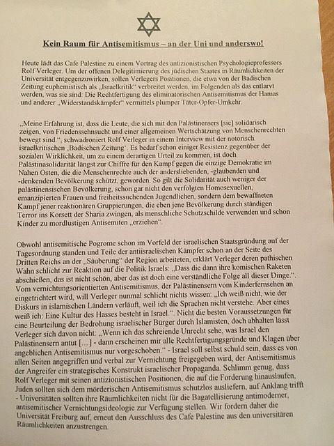 Veranstaltung mit Professor Verleger gestern in Freiburg - Die anonyme Antisemitsmuspolizei kam, sah und verschwand  Foto: Gabi Weber