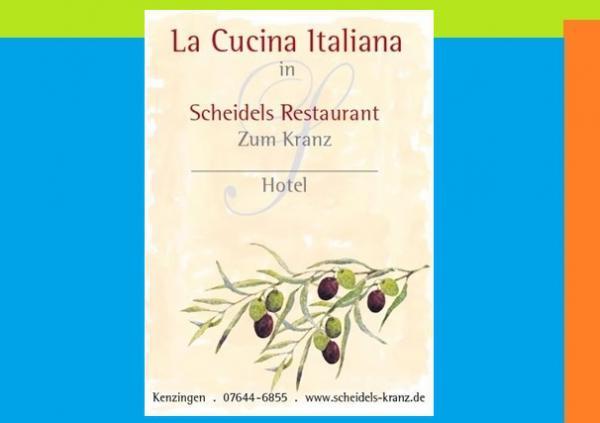 Scheidels Restaurant zum Kranz - Hotel, Offenburger Str. 18, 79341 Kenzingen, Tel. 07644 / 68 55, Fax 07644 / 93 10 77  info@scheidels-kranz.de - www.scheidels-kranz.de