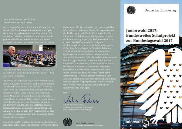 """Bundestagsabgeordneter Peter Weiß ruft zur """"Juniorwahl 2017"""" auf - Projekt soll Schülern Bedeutung von Wahlen näherbringen  Foto: Büro Peter Weiß"""