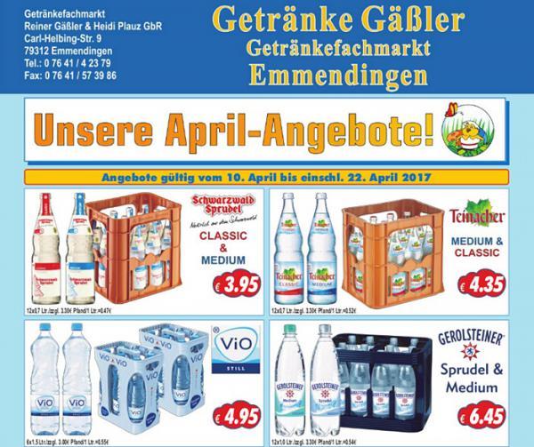 Unsere Getränkeangebote vom 10. bis 22. April 2017  Getränke Gäßler, Carl-Helbing-Str. 9, Emmendingen, Tel. 07641/42379, Fax 07641/573986