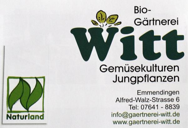 Bio-Gärtnerei Witt, Alfred-Walz-Str. 6, Emmendingen, Tel. 07641/8839, info@gaertnerei-witt.de, www.gaertnerei-witt.de