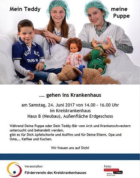 Samstag, 24. Juni 2017: Aktion für Kinder im Kreiskrankenhaus -  VERBAND FÜR DIE PUPPE UND SPRITZE FÜR DEN TEDDY