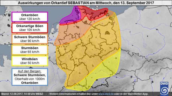 Auswirkungen von Orkantief Sebastian auf Deutschland am 13.9.2017