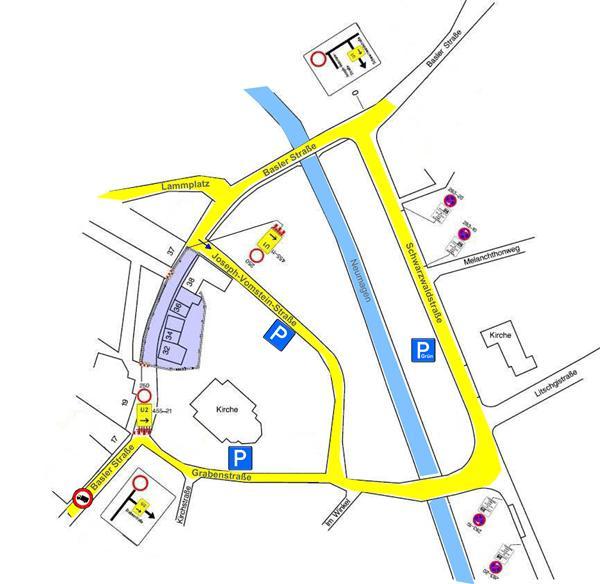 Für den Fahrzeugverkehr ausgeschilderte Strecken. Quelle: Stadt Bad Krozingen