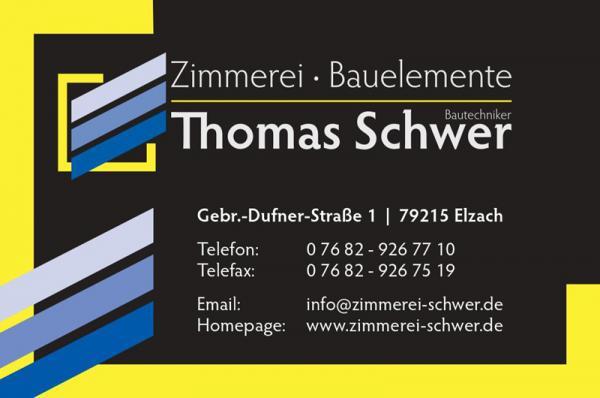 Thomas Schwer, Zimmerei & Bauelemente, Gebrüder-Dufner-Straße 1, 79215 Elzach, Tel. 07682/9267710, Fax 07682/9267519, info@zimmerei-schwer.de, www.zimmerei-schwer.de