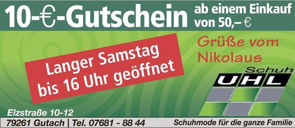 Grüße vom Nikolaus!   Schuh Uhl, Elzstraße 10-12, 79261 Gutach, Tel. 07681-8844