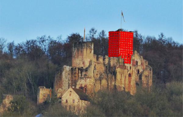 """Kunstinstallation """"RedBalloon: The Tower"""" für 2018 auf Burg Rötteln in Vorbereitung"""