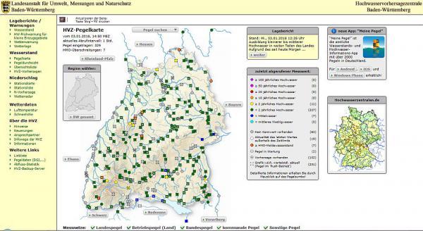 Aktuelle Infos über Hochwasserlage in Baden-Württemberg - Link zu Hochwasservorhersagenzentrale  Foto: Regierungspräsidium Freiburg