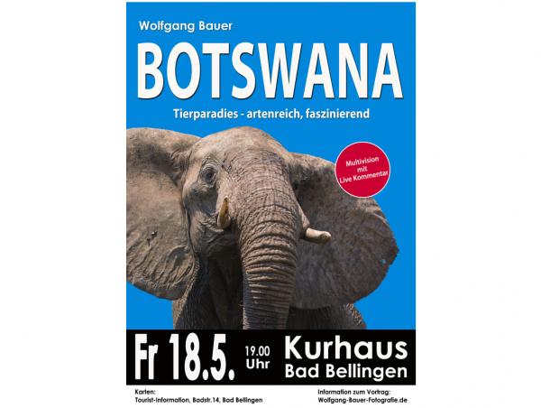 Wolfgang Bauer präsentiert in einem Multivisionsvortrag seine Reiseerlebnisse in Botswana.  Plakat