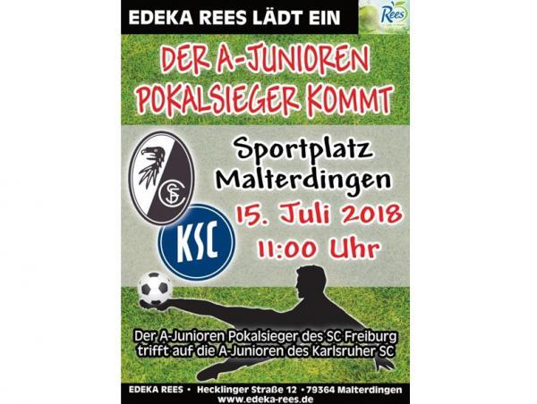 A-Junioren Pokalsieger SC Freiburg trifft auf die A-Junioren des Karlsruher SC in Malterdingen.