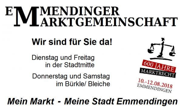 >> WIR SIND DABEI!  - [rt=241,7611]Bäckerei Müller[/rt] >> Freitag 8:30 - 13 Uhr  - Kartoffel- und Gemüsebau Ute und Eugen Eckert, Wyhler Straße 26, 79362 Forchheim, Tel. 07642/7336, E-Mail: Kartoffelundgemuesebau.Eckert@gmx.de >> Dienstag und Freitag! - Angebot: Kartoffeln, Zwiebeln, Kraut, Rüben, Gemüse und Salat je nach Saison, Eier  - Lender's Imbiss, Thorsten Lender, Karl-Friedrich-Straße 69, 79312 Emmendingen, Tel. 0175-2884597, E-Mail: info@lender-em.de >> Dienstag und Freitag! - Angebot: Rote Bratwurst, Currywurst, Hacksteak, Softdrinks  - Pikante- Feine Spezialitäten -Maurer OHG, Hauptstraße 38, 79365 Rheinhausen, Tel. 07643/40846, E-Mail: webmaster@pikante.de, www.pikante.de >> Dienstag und Freitag! - Angebot: Oliven, Schafskäse, Antipasti, selbsthergestellte vegane Pasten, Olivenöle, Kern- und Nussöle, Balsamicos, Trockenfrüchte, Lavendelprodukte, Honig  - Bio Gärtnerei Witt, Alfred-Walz-Straße 6, 79312 Emmendingen, Tel. 07641/8839, E-Mail: info@gaertnerei-witt.de, www.gaertnerei-witt.de >> Dienstag, Freitag und Samstag! - Angebot: Bio-Gemüse