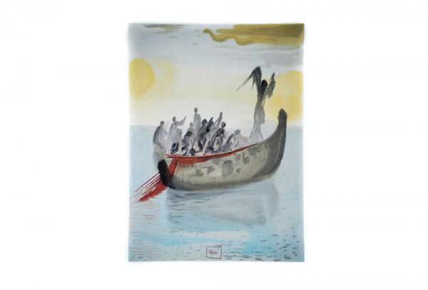 Bis 28. Oktober: Dalí-Ausstellung in Kunsthalle Messmer verlängert  Salvador Dalí, Der Nachen mit dem Engel als Fährmann, Aus: Göttliche Komödie, 1960, Holzschnitt  Foto: messmer foundation