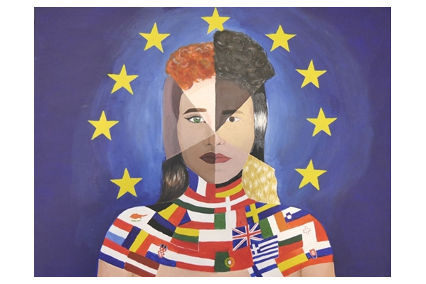 VIELFALT MACHT STARK heißt diese Gemeinschaftsarbeit von Alisa Agovic, Vera Binkert, Gina Loretta Franz und Nadin Tapai vom Gymnasium Kenzingen, die letztes Jahre prämiert und ausgestellt wurde.