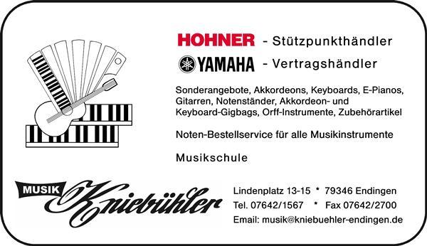 Musikgeschäft Kniebühler | Lindenplatz 15, 79346 Endingen | Tel.: 07642/1567 | Fax: 07642/2700 | E-Mail: musik@kniebuehler-endingen.de