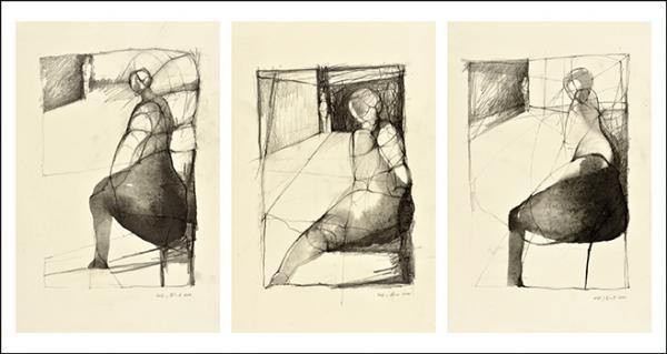 Wolfgang Ebert: Eckgebunden 1-3, Graphit auf Papier, 30 x 21 cm