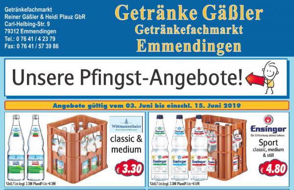 Getränke Gäßler   Carl-Helbing-Str. 9, 79312 Emmendingen, Tel: 07641/42379, Fax: 07641/573986