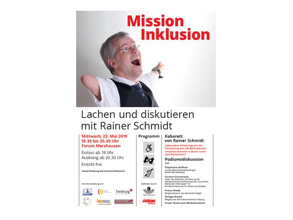 """""""Mission Inklusion - Lachen und diskutieren mit Rainer Schmidt"""" im Forum Merzhausen"""