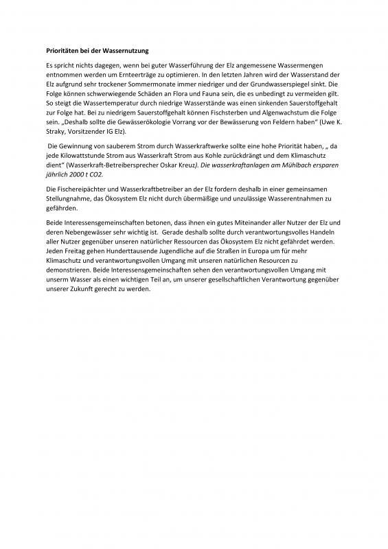 """Am 30.April veröffentlichte die BZ den Artikel """"Bauern fordern mehr Wasser"""".  Dies hat viele diskussionen ausgelöst. Daraus entwickelte sich obige gemeinsame Erklärung."""