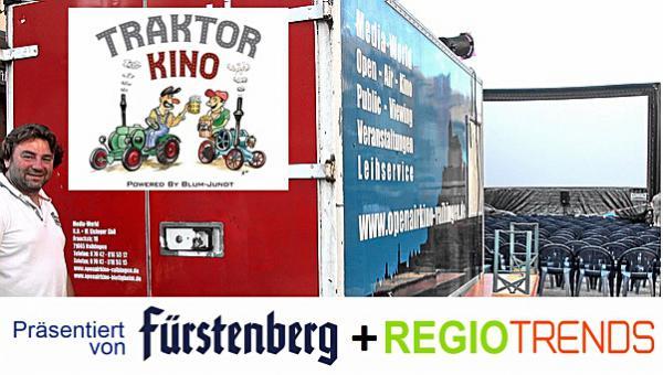 """Max Eisniger  bringt heute sein mobiles Kino in das Festzelt in Freimat! Riesenspaß mit dem """"25km/h"""". Unterstützt wird die Veranstaltung von  der Firma Blum-Jundt (Emmendingen)"""