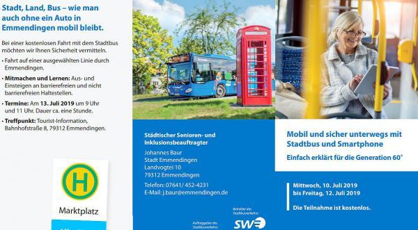 """10. bis 12. Juli: """"Mobil und sicher unterwegs mit Stadtbus und Smartphone - Einfach erklärt für die Generation 60+"""".  Foto: Stadt Emmendingen"""