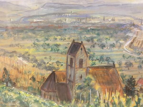 Kleine Dauerausstellung von Bowien-Bildern im Rathaus zeigt historische Ansichten von Weil am Rhein  Blick auf Haltingen und Basel