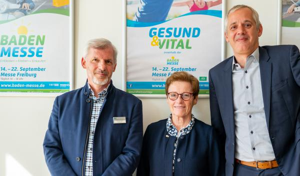 Baden Messe 2019 vom 14. – 22. September -Projektleiter Thomas Veser, Ilse Müller (BDH), Messechef Daniel Strowitzki (rechts).