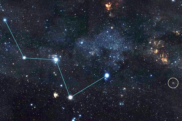 Nobelpreis für Physik - Astrophysikerin Svetlana Berdyugina von der Universität Freiburg über die Bedeutung der Auszeichnung für ihren Kollegen Michel Mayor. Position des nächsten bestätigten Exoplaneten, der bisher außerhalb unserers Sonnensystems gefunden wurde.   Foto: NASA/JPL-Caltech/DSS