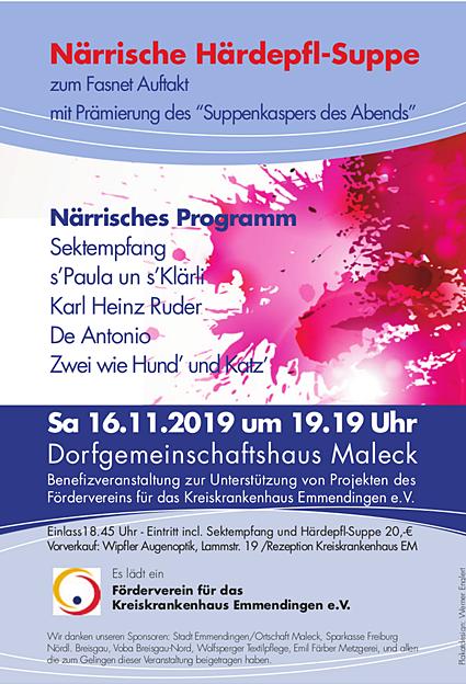 16. November 2019: 4. Närrische Kartoffelsuppe im Dorfgemeinschaftshaus Maleck – Förderverein des Kreiskrankenhauses lädt ein