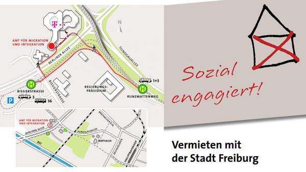 Mehr Platz für wohnungslose Familien in Freiburg - Erweiterungsbau in der Bötzinger Straße ist fertiggestellt. Flyer zur Wohnungsakquise.  Foto: Stadt Freiburg