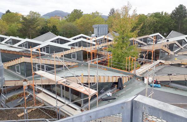 Gebäudemanagement der Stadt Freiburg saniert Hyparschalen-Dächer über Werkstätten im Berufsschulzentrum Bissierstraße.  Foto: Gebäudemanagement Stadt Freiburg