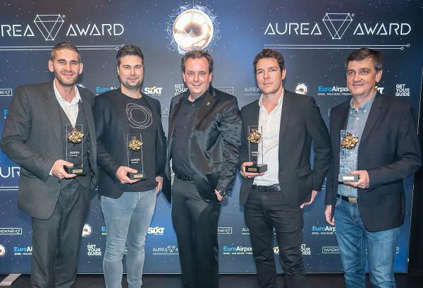 MackNeXT kürte die besten Innovationen im Bereich der Mixed Realities. Michael Mack (Mitte) gratuliert den vier Gewinnern des AUREA Award.  Foto: Europa-Park