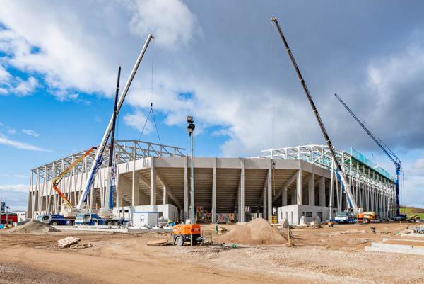 Planmäßiger Baufortschritt beim neuen Stadion des SC Freiburg
