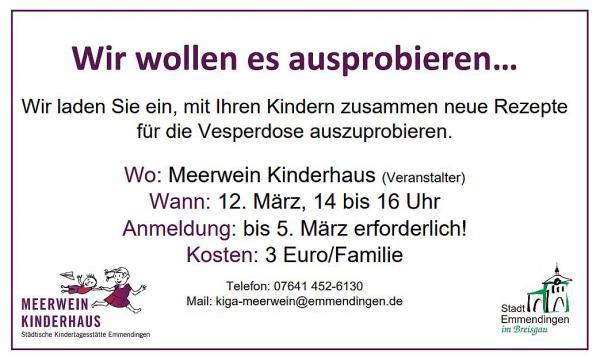 12. März: Neue Rezepte für die Vesperdose werden ausprobiert - Veranstaltung im Städtischen Meerwein Kinderhaus in Emmendingen.  Foto: Stadt Emmendingen