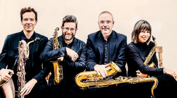 10. Juli: Streaming Konzert in der Meckel-Halle im Sparkassen Finanzzentrum in Freiburg - Raschèr Saxophon Quartet tritt im Rahmen des Projektes #inFreiburgzuhause.de auf.  Foto: Sparkasse Freiburg-Nördlicher Breisgau