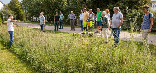 Der Landschaftsökologe Holger Loritz (li.) erläutert das Prinzip der Aufwertungsstreifen anhand einer Wiese am Mühlegässle in Steinen.  Bild: Naturpark Südschwarzwald