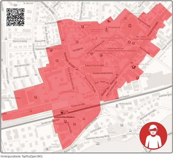 Auf Grundlage der Allgemeinverfügung des Landratsamtes Lörrach ist seit vergangenem Samstag, 21. November, in diesem Bereich das Tragen eines Mund-Nasen-Schutzes Pflicht