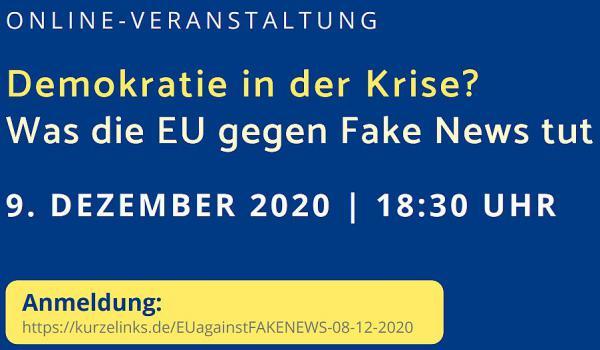 """9. Dezember: """"Demokratie in der Krise? Was die EU gegen Fake News tut"""".  Foto: Stadt Freiburg"""