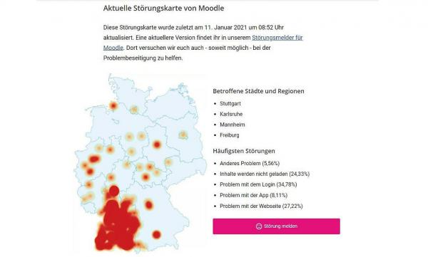 "Holpriger Schulstart mit digitaler Lernplattform Moodle. ""Störungs-Landkarte"" der digitalen Lernplattform Moodle.  Foto: Gewerkschaft Erziehung und Wissenschaft Baden-Württemberg"