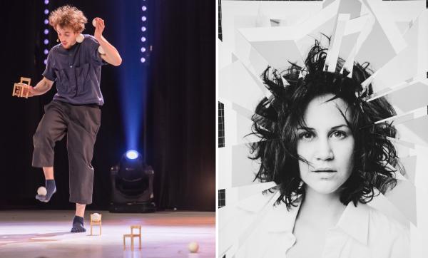Gewinner Elias Oechsner (Jonglage, Objektmanipulation)  und Gewinnerin Andrina Bollinger (Multiinstrumentalistin, Sängerin)