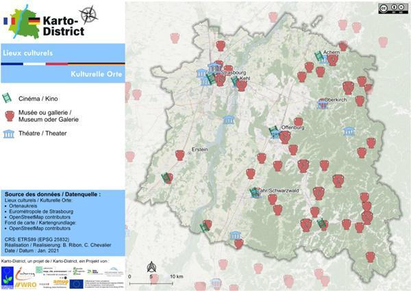 """Neue grenzüberschreitende Themenkarten dank """"Karto-District""""  Kulturelle Orte  Bild: Eurodistrikt Strasbourg-Ortenau"""