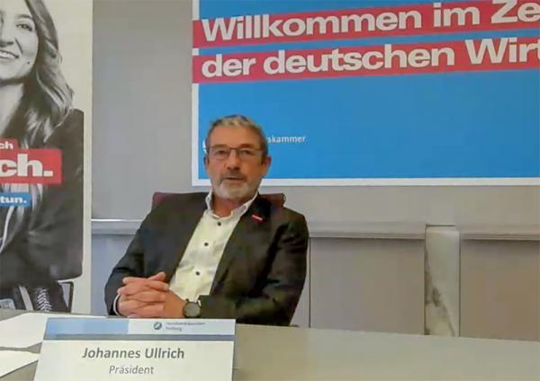 Handwerkskammer Freiburg zeichnete anhand einer aktuellen Konjunkturumfrage ein Stimmungsbild seiner Mitgliedsbetriebe. Handwerkskammerpräsident Johannes Ullrich.  RT-BIldschirm-Foto: Online-Pressekonferenz Handwerkskammer Freiburg