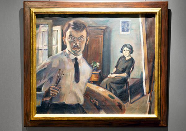 Georg Scholz, Selbstportrait vor Staffelei, 1914, Öl auf Leinwand   Foto: Nik van Veenendal Fotodesign/Stadt Waldkirch