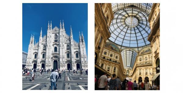 Mailänder Dom (links) -  Galleria Vittorio Emanuele II in Mailand  Foto: Catherine Delherm/Stadt Lahr