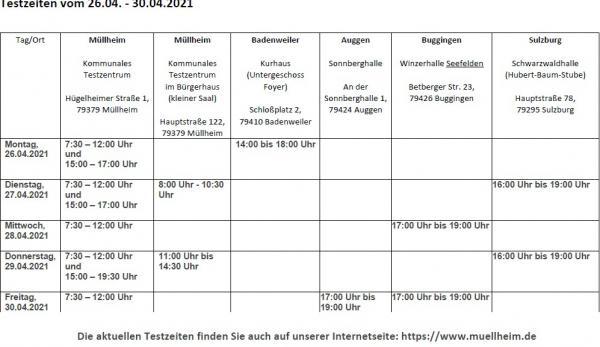 Testzeiten vom 26.04. - 30.04.2021